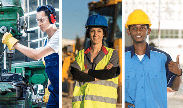 Construction and factory workers